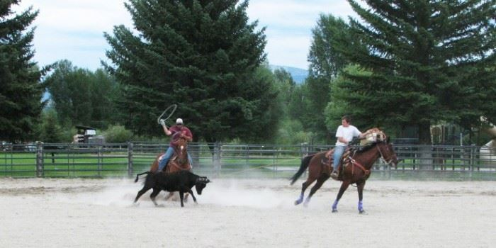 Two men riding horses in a rodeo arena.